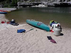 Pause am Ufer der Ardèche