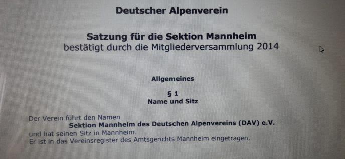 Satzung der Sektion Mannheim